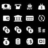 Vector white money icons set. On black background Stock Photo