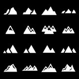 Vector white mountains icons set Royalty Free Stock Photography