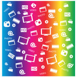 Vector white movie icon set. Eps10 Stock Photos