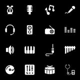 Vector white music icon set Royalty Free Stock Images