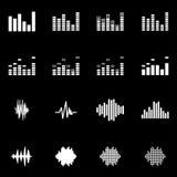 Vector white music soundwave icon set Stock Photos