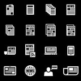 Vector white newspaper icon set Stock Photos
