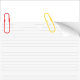 Vector white note paper with paperclip Royalty Free Stock Photography