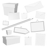 Vector white office elements. Set of different  office elements Royalty Free Stock Image