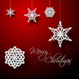 Vector white paper christmas snowflakes Stock Images