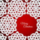 Vector white paper christmas snowflakes on a red background Stock Images