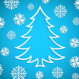 Vector white paper Christmas tree on the blue background with snowflakes Stock Image