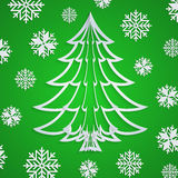 Vector white paper Christmas tree on the green background with snowflakes Royalty Free Stock Photo