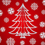 Vector white paper Christmas tree on the red background with snowflakes Stock Images