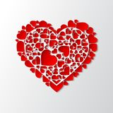 Vector white paper cut out heart with many small red hearts. Beautiful white paper cut out heart with many small red hearts. Vector illustration Royalty Free Stock Images