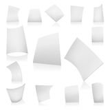 Vector white paper poses. Vector white paper in cartoony poses Stock Photos