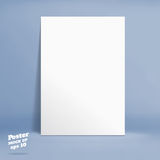 Vector : White paper poster in blue studio room, Template mock u Stock Photography