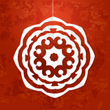 Vector white paper snowflake illustration at red textured background Royalty Free Stock Images