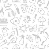 Vector white pattern of garden accessories Royalty Free Stock Image