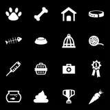 Vector white pet icon set Stock Photos