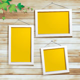 Vector White photo frame on wood background. White photo frame on wood background, With green leaves decoration Vector design Royalty Free Stock Photos