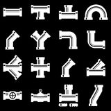 Vector white pipe fittings icon set Stock Photography