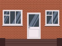 Vector white plastic closed front door with stairs and two piece and tree section window vector illustration