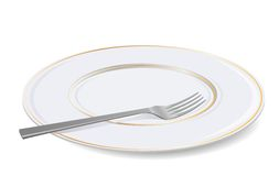 Vector white plate and fork. Stock Image