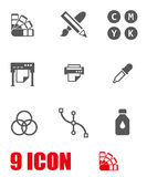 Vector white polygraphy icon set. On white background Royalty Free Stock Images