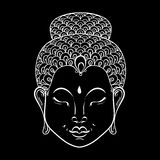 Vector white Portrait of Buddha for ornamental adult coloring pa. Ges, Buddhism tattoo art, ethnic patterned t-shirt print. Monochrome hand drawn religion Royalty Free Illustration