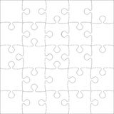 Vector White Puzzles Pieces - JigSaw - 25. 25 White Puzzles Pieces Arranged in a Square - JigSaw - Vector Illustration Stock Photo