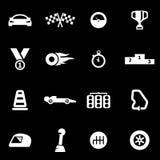 Vector white racing icon set Stock Image
