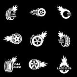 Vector white Racing labels icon set Royalty Free Stock Photo