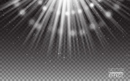 Vector White Rays of Light Flare Abstract Illustration. Realistic Design Elements. Effect on  Transparent Background. Stock Photo