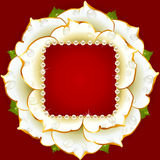 Vector white Rose circle frame Royalty Free Stock Photo