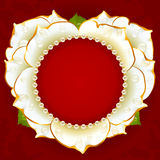 Vector white Rose heart frame with pearl necklace Stock Photo
