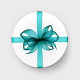 Vector White Round Box with Transparent Blue Bow and Ribbon Stock Image