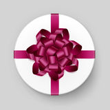 Vector White Round Gift Box with Pink Burgundy Bow and Ribbon Top View Close up  on Background. Vector White Round Gift Box with Shiny Magenta Dark Pink Burgundy Stock Image