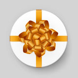 Vector White Round Gift Box with Shiny Yellow Golden Bow and Ribbon Top View on Background. Vector White Round Gift Box with Shiny Yellow Golden Bow and Ribbon Royalty Free Stock Photos