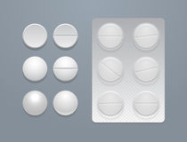 Vector white round pills and blister pack Royalty Free Stock Photos