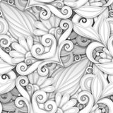 Vector White Seamless Pattern with Floral Ornament. Hand Drawn Texture with Swirls, Doodle Flowers and Leaves, Deco Elements Vector Illustration