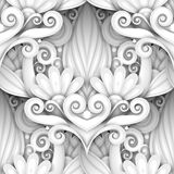 Vector White Seamless Pattern with Floral Ornament stock illustration