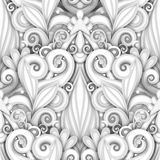 Vector White Seamless Pattern with Floral Ornament. Hand Drawn Texture with Swirls, Doodle Flowers and Leaves, Deco Elements Royalty Free Illustration