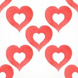 Vector white seamless pattern from red watercolor hearts Stock Photos