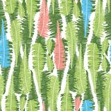 Vector white seamless pattern with vertical fern leaves stripes. Suitable for textile, gift wrap and wallpaper vector illustration