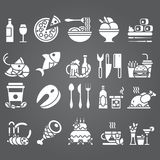 Vector white Set of flat icons and elements about food and drink for cuisine web restaurant menu. Eps10 Stock Image
