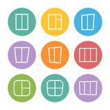 Vector  white set window icons in flat stile Royalty Free Stock Photo