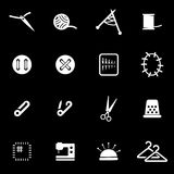 Vector white sewing icon set Royalty Free Stock Photos