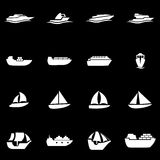 Vector white ship and boat icon set Stock Images