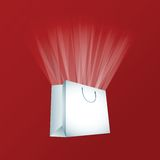 Vector white shopping bag. Illustration Royalty Free Stock Photography