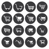 Vector white shopping cart icons set Royalty Free Stock Photography