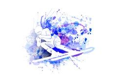 Vector white silhouette of the skier stock illustration