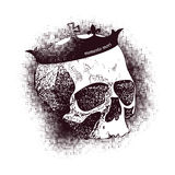 Vector white skull on black background in grunge Royalty Free Stock Image
