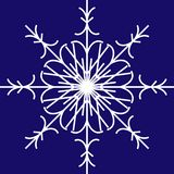 Vector white snowflake on blue background. White vector snowflake painted on a blue background. Winter time, Christmas, New year. Illustration, icon for festive Stock Illustration