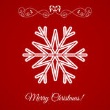Vector White Snowflake Icon Over Red Background. Element for Xmas and Happy New Year projects royalty free illustration